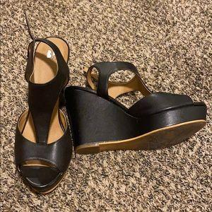Black Peep-Toe Wedges